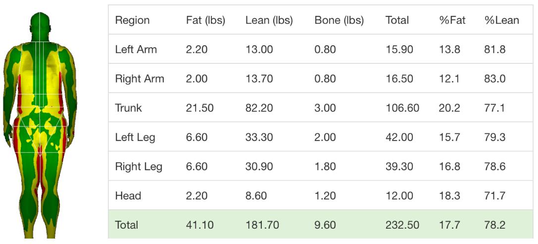 DXA body composition data sample