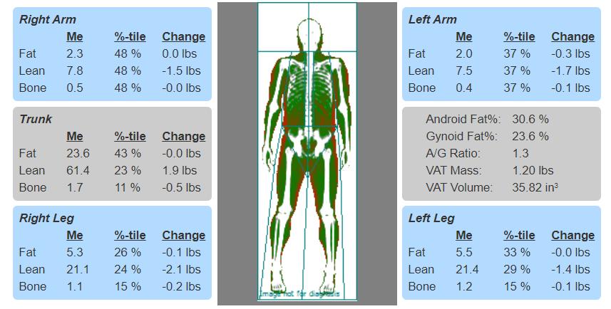DXA segmental body composition data