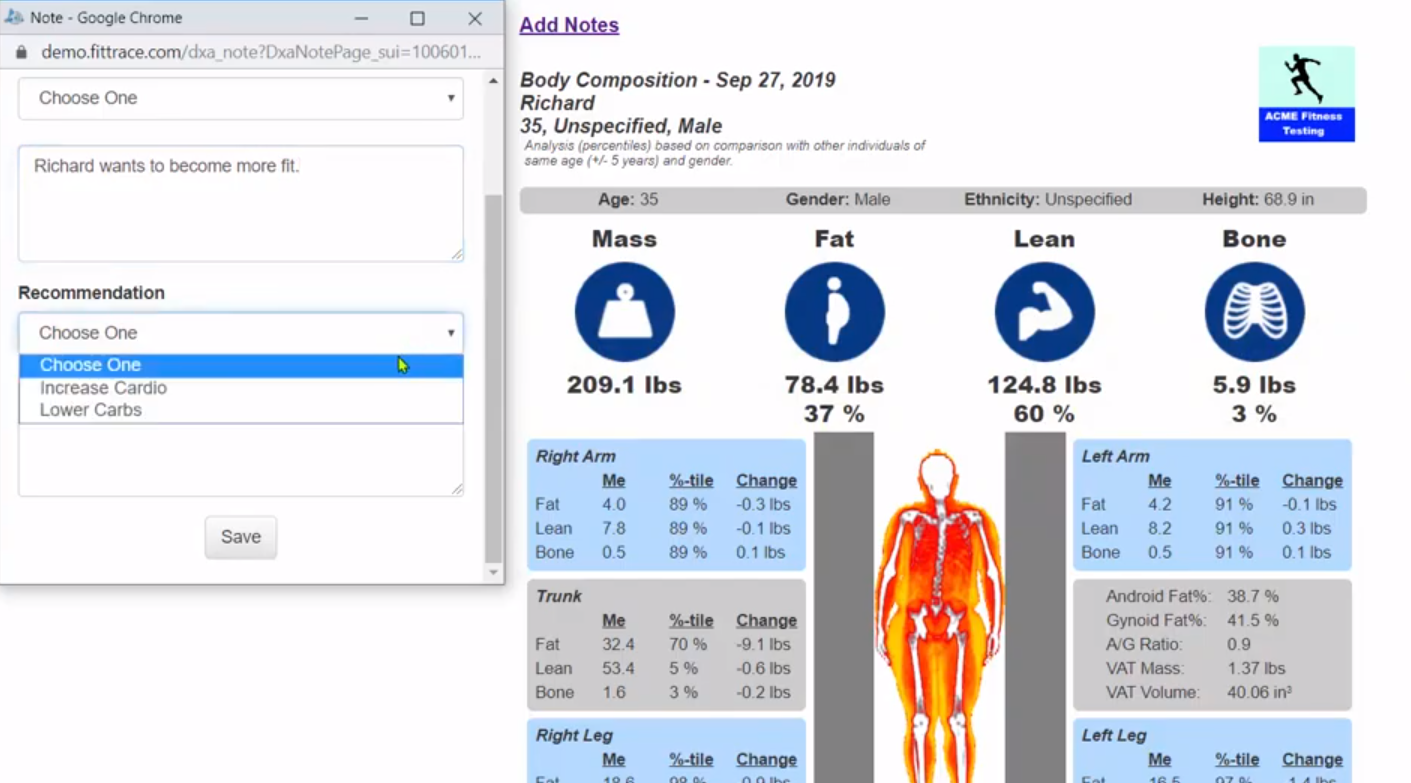 Notes can be added to a DXA body composition scan