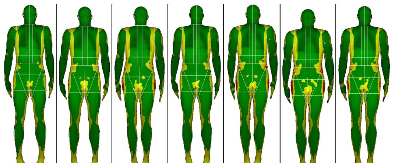 DXA body composition scan images: pre-season, in-season, post-season