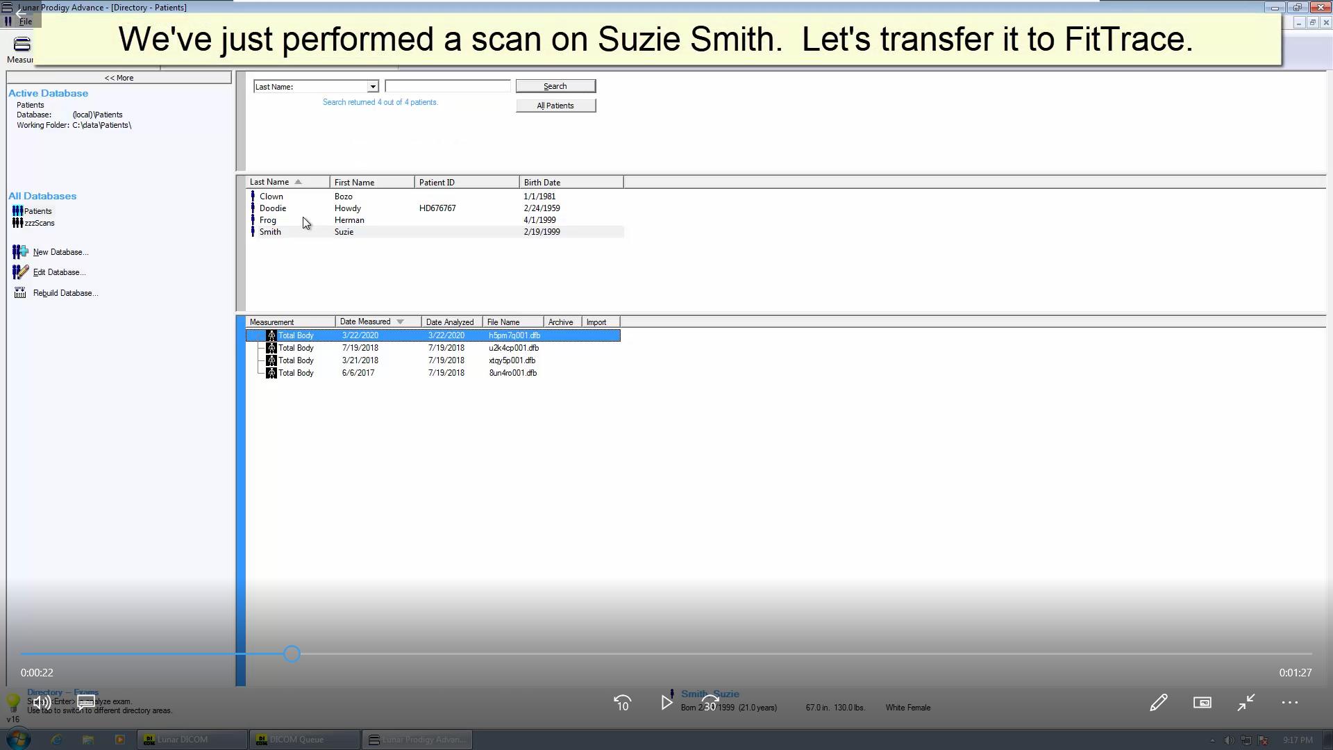 Transfer DXA body composition scan GE